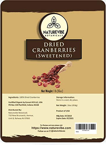 Naturevibe Botanicals Dried Cranberries (Sweetened), 1lbs | Non-GMO and Gluten Free | Natural and Healthy Snack | Dried Fruit