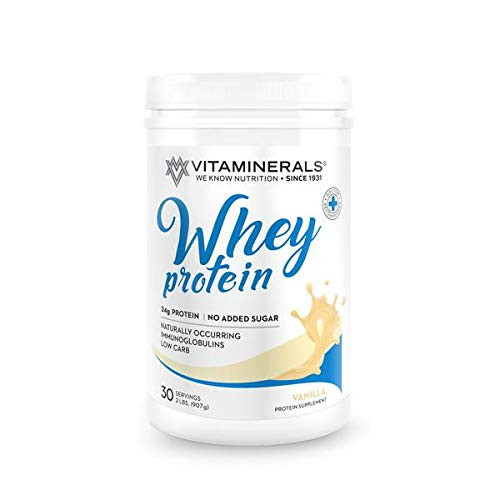Vitaminerals 404 Whey Protein Complex Vanilla Flavor 30 Serving 24 Grams Protein per Serving Enhanced with BCAAs No Sugar, Low Carb, Low Fat
