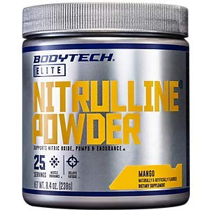 BodyTech Nitrulline Nitric Oxide Potentiator, Pumps Endurance to Help Energize Nourish Working Muscles, Mango (8.4 Ounce Powder)