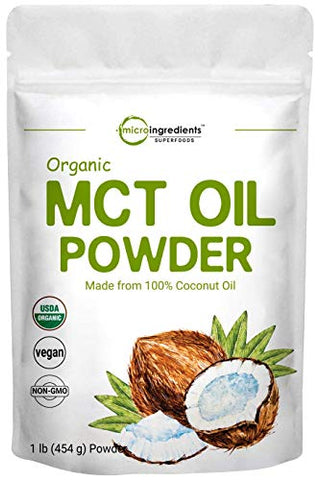 Micro Ingredients Organic MCT Oil Powder, 1 Pound (16 Ounce), C8 MCT Oil for Coffee Creamer, Delicious for Tea, Smoothie, Drink and Beverage, No GMOs, Keto Diet and Vegan Friendly