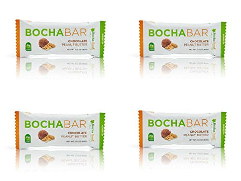 BochaSweet Protein Bar, Chocolate Peanut Butter BochaBar, 21g Grass Fed Collagen, Low Carb, Keto-Friendly, Gluten Free, 4 Count