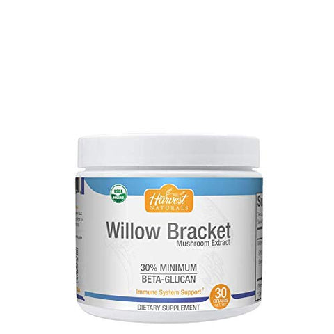 Willow Bracket (Phellinus Igniarius) Mushroom Extract Powder - 30% Beta Glucans - Anti Inflammatory & Antioxidant Supplement - 30 Grams - Hard Rhino