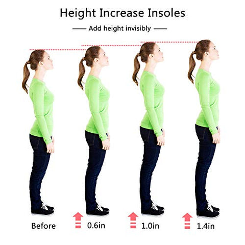 Height Increase Insoles, Heel Cushion Inserts, Heel Lift Inserts for Leg Length Discrepancies for Women (1.0IN)