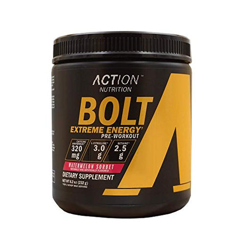 Bolt Extreme Energy Pre Workout Powder Watermelon Sorbet - Sugar Free Preworkout Energy Supplement for Men & Women - 320mg Caffeine + 3.2g Beta Alanine + 3 Patented Ingredients | 30 Servings