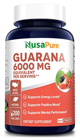 Guarana Extract 6000mg 200 Veggie caps (Non-GMO & Gluten Free) Slow Release Natural Coffee Caffeine Pills with No Crash - Increased Focus, Fat Burning, Weight Loss Aid