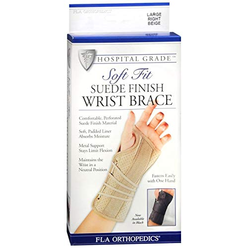 FLA Soft Fit Suede Right Finish Wrist Brace, Beige, Large