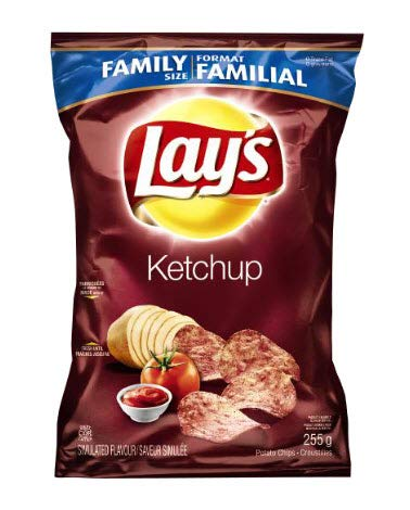 Canadian Lays Ketchup Chips (Imported From Canada)   1 Family Size Bag