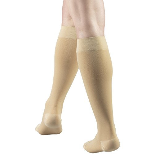 Truform 20-30 mmHg Compression Stockings for Men and Women, Knee High Length, Closed Toe, Beige, Small