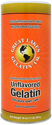 Great Lakes Unflavored Gelatin, Kosher, 16 oz (Pack of 2)