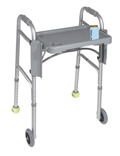 "Drive Medical Deluxe Folding Walker Tray, Gray, 16"" x 12"""