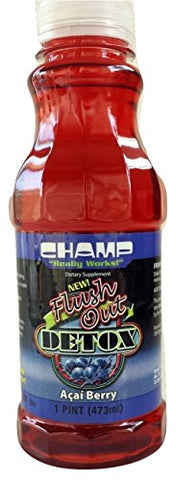 Champ Flush Out Detox Drink, Quick Cleansing Formula with CleanX2 - Acai Berry 1 Pint (16 Fl. Oz)