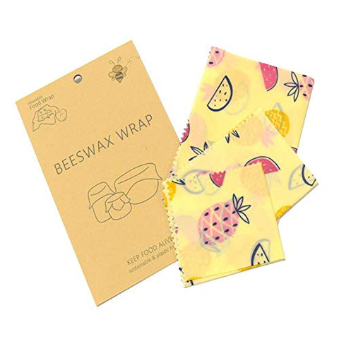 Reusable Beeswax Wrap Assorted Size 3pcs, Eco Food Storage Covers, Super Cling, Odor Free, Alternative To Plastic Bags, Biodegradable