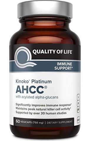 Premium Kinoko Platinum AHCC Supplement - 750mg of AHCC per Capsule - Supports Immune Health, Liver Function, Maintains Natural Killer Cell Activity - 60 Veggie Capsules