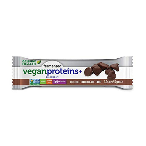 Genuine Health Fermented Vegan Proteins+ Bar, Double Chocolate Chip, 15g Protein, Gluten Free, 12 Count