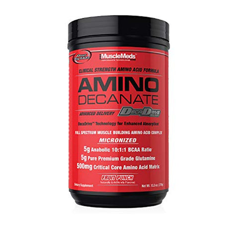 MuscleMeds Amino DECANATE, Intra, Post Workout Drink, Full Spectrum Amino Acid Complex, Leucine, Muscle Recovery, Fruit Punch, 30 Servings