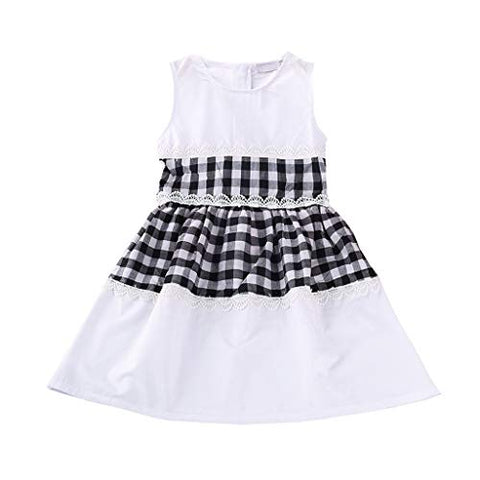 heavKin-Clothes 2-7 Years Kids Girls' O-Neck Dress Sleeveless Plaid Stitching Bow Tie A-Line Long Skirt
