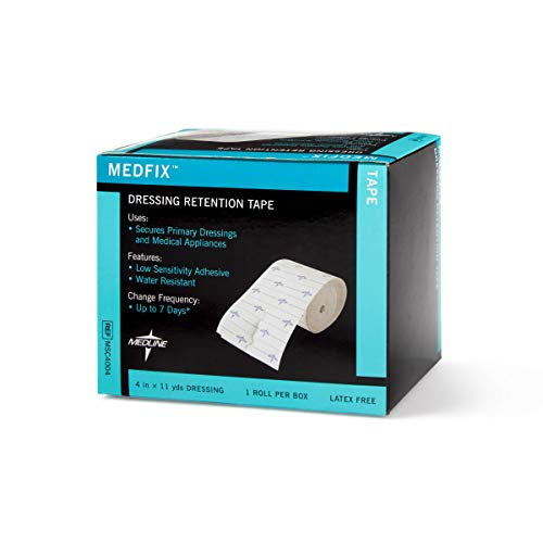 "Medline MedFix Dressing Retention Tape with S-Release Liner, Secures Primary Dressings and Medical Appliances, 4"" x 11 yd"