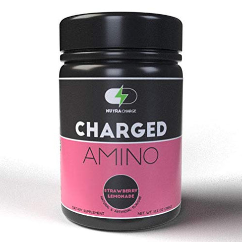 NutraCharge Charged Amino, Amino + Energy + Hydration, Caffeinated Amino Acids with Electrolytes, Pre Workout & Post Workout, 30 Servings (Strawberry Lemonade)
