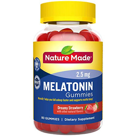 Nature Made Melatonin 2.5mg Gummies, 80 Count for Supporting Restful Sleep (Packaging May Vary)
