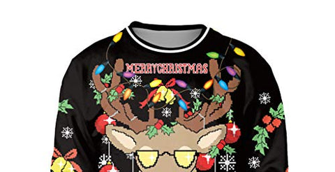 Unisex Funny Ugly Christmas Sweatshirt 3D Reindeer Print Long Sleeve Xmas Plus Size Party Pullover Tops (M,Black)