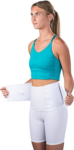 "Saunders S'port All Back Support with White Compression Shorts: Women's, Large (Waist: 32"" - 34"")"