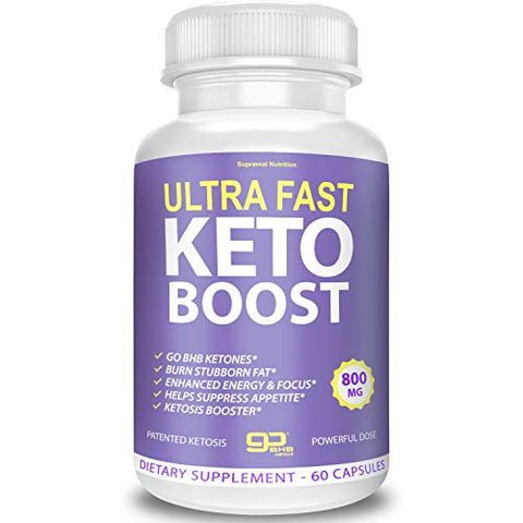 Ultra Fast Keto Boost - Go BHB Ketones - Burn Stubborn Fat - Enhanced Energy & Focus - Suppress Appetite - Ketosis Booster - Supremal Nutrition