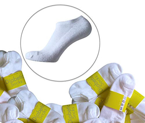 Diabetic no Show Low Non-Binding Loose Socks for Women - 2 Pack (9-11, White)