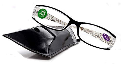 Tuscany, Premium Reading Glasses, High End Readers +1.25 to +3. Magnifying Glasses, Black Rectangular Style. Optical Frame. NY Fifth Avenue.