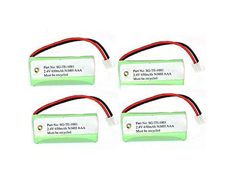 SPS Brand 2.4V 650mAh Replacement Battery for VTech 6122 (4 Pack)