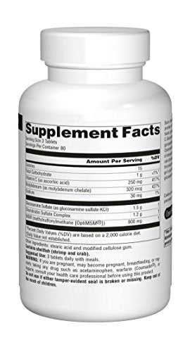 SOURCE NATURALS Glucosamine Chondroitin Complex with Msm Tablet, 240 Count