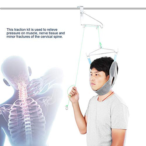 JM-D Cervical Traction Device, Over Door Cervical Traction Device Unit Neck Stretcher Posture Corrector Overhead Brace Machine Physical Therapy Set Pain Relief