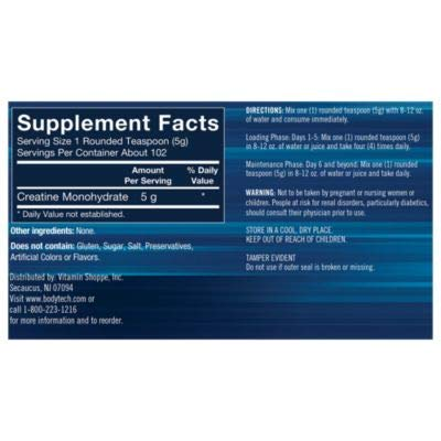 BodyTech 100 Pure Creatine Monohydrate Unflavored 5 GM/Serving Supports Muscle Strength Mass (18 Ounce Powder)