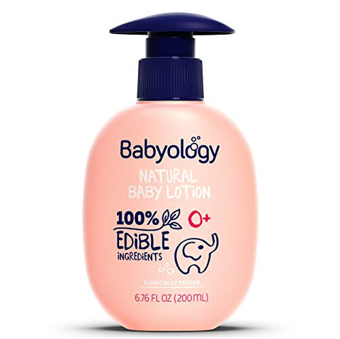 Babyology - 100% Edible Ingredients - Organic Baby Lotion - Clinically Tested - 6,67 FL. OZ - Calming & Rich Moisture for Sensitive Skin - Daily Care - Non-scented - Perfect Baby Shower Gift