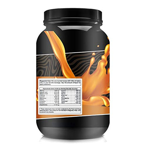 High Level Natural Whey Protein Powder | Salted Caramel Shake with Stevia | 29g Protein | 2 lb, Ultra Filtered Non-GMO | Digestive Enzymes for Absorption | No Artificial Color or Flavors | Made in USA