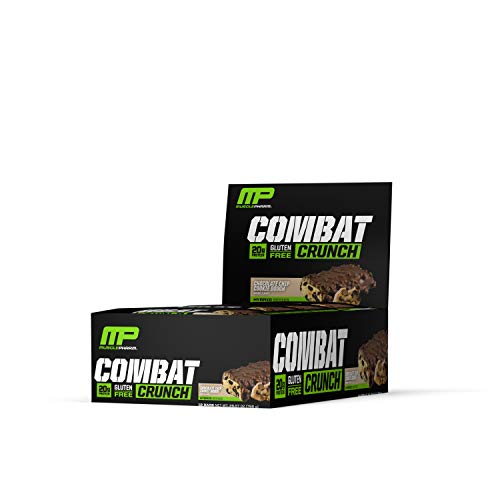 MusclePharm Combat Crunch Protein Bar, Multi-Layered Baked Bar, Gluten-Free Bars, 20 g Protein, Low-Sugar, Low-Carb, Gluten-Free, Chocolate Chip Cookie Dough Bars, 12 Servings