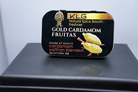 12pk Gold Cardamom Fruitas Natural Spice Breath Freshener Cardamom, Saffron, Turmeric, and 24k edible gold. Mint, gum replacement, coffee, tea, food, flavor booster vegan, kosher, gluten free.