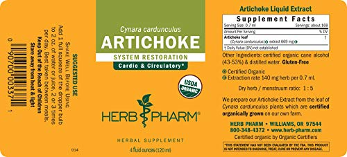 Herb Pharm Certified Organic Artichoke Liquid Extract for Cardiovascular and Circulatory Support - 4 Ounce