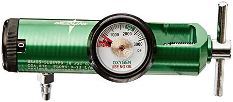Medline HCS8725M Mini Oxygen Regulator, Latex Free, 0 - 25 Liters per Minute, 870 CGA Connection, Brass Sleeve