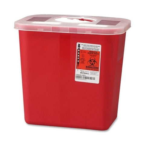 Wholesale CASE of 20 - Unimed Sharps 2 Gallon Container w/ Rotor Lid-Biohazard Sharps Container w/ Rotor Lid, 2 Gal., Red