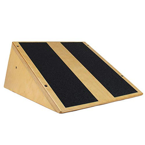 Rolyan Economy Calf Stretcher, Wooden Elevated Slant Board with Non-Skid Pads