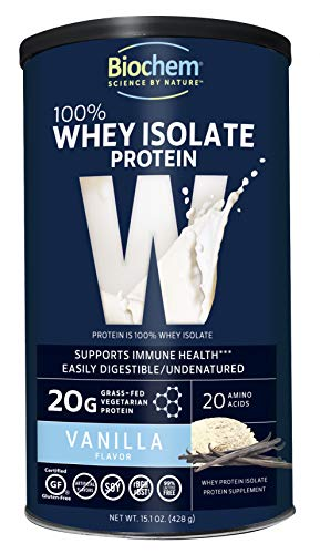 Biochem 100% Whey Isolate Protein   Vanilla Flavor   15.1 Oz   Supports Immune Health   Easily Diges