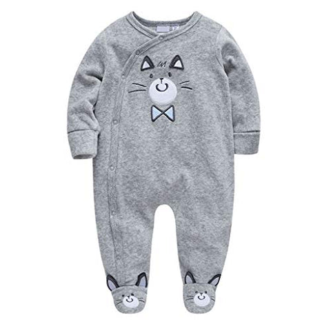Newborn Infant Toddler Baby Boy Girl Romper Jumpsuit Outfit Set Cartoon Funny Car Kids Clothes (6-9 Months, Gray)