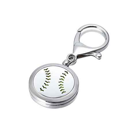 Baseball Diffuser Keychain Aromatherapy Keychains Stainless Steel Simple Essential Oil Locket Travel Diffuser