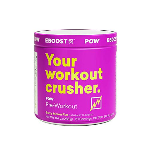 EBOOST POW Natural Pre-Workout  20 Servings - Berry Melon Fizz - A Pre Workout Supplement for Performance, Joint Mobility Support, Energy, Focus - Men and Women - Non-GMO, Gluten-Free, No Creatine