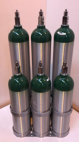FWF Oxygen Floor Rack Hold 6 (E, D, C OR M9 Style) CYLINDERS Diameter 4.3 Made in USA