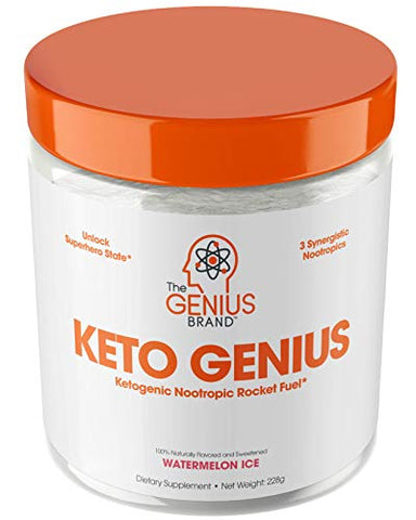 Keto Genius (BHB Exogenous Ketones + Nootropics) - Ketogenic Energy & Focus Supplement - Perfect Nootropic Brain Fuel to Spark Ketosis & Boost Clarity - Pure Ketone Drink Powder w/Alpha GPC -15sv