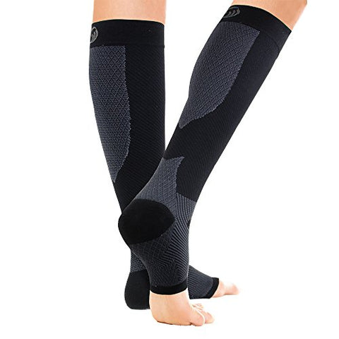 OrthoSleeve FS6+ Compression Foot and Calf Sleeve (Pair), Black, Large