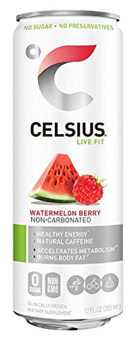 CELSIUS Sweetened with Stevia Watermelon Berry Non-Carbonated Fitness Drink, Zero Sugar, 12oz. Slim Can, 12 Pack