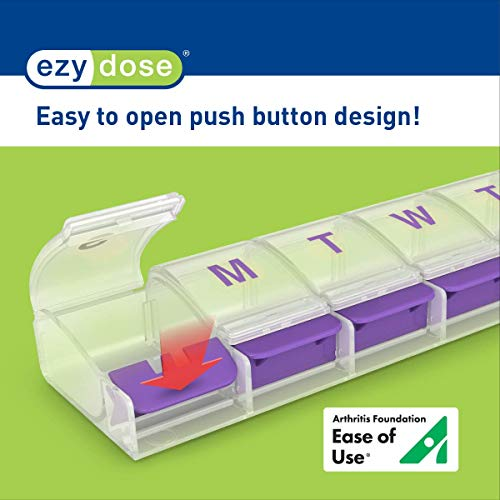 Ezy Dose Push Button (7 Day) Pill, Medicine, Vitamin Organizer Box | Weekly, Daily Planner | Large C