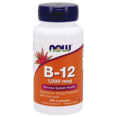 Now Supplements, Vitamin B 12 1,000 Mcg With Folic Acid, Nervous System Health*, 250 Chewable Lozeng